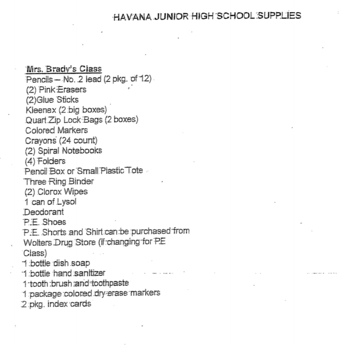 Havana Jr High - School Supply List