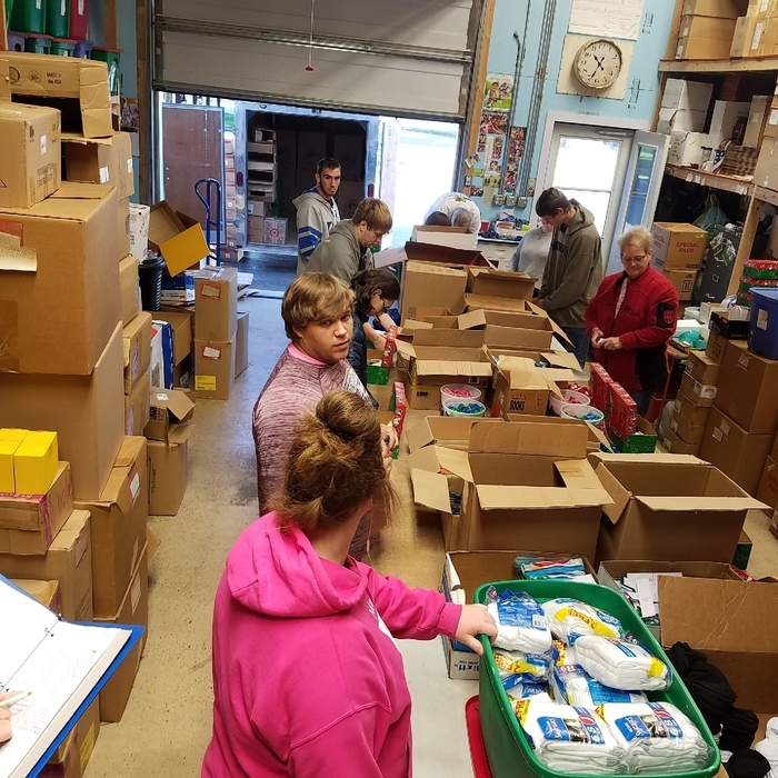 Operation Christmas Child packing party for work skills