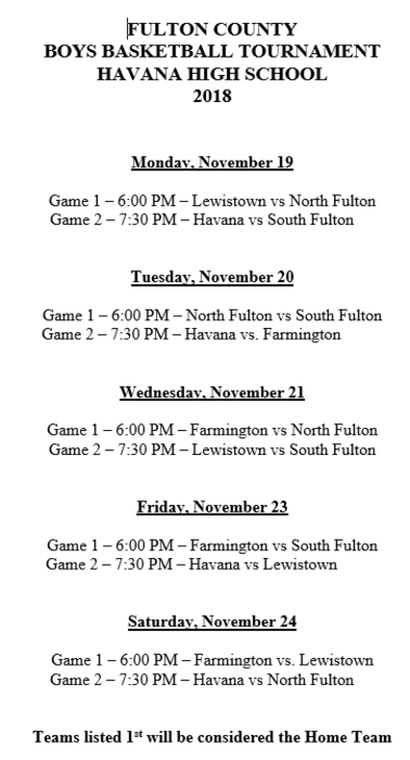 2018 Boys FCT Schedule