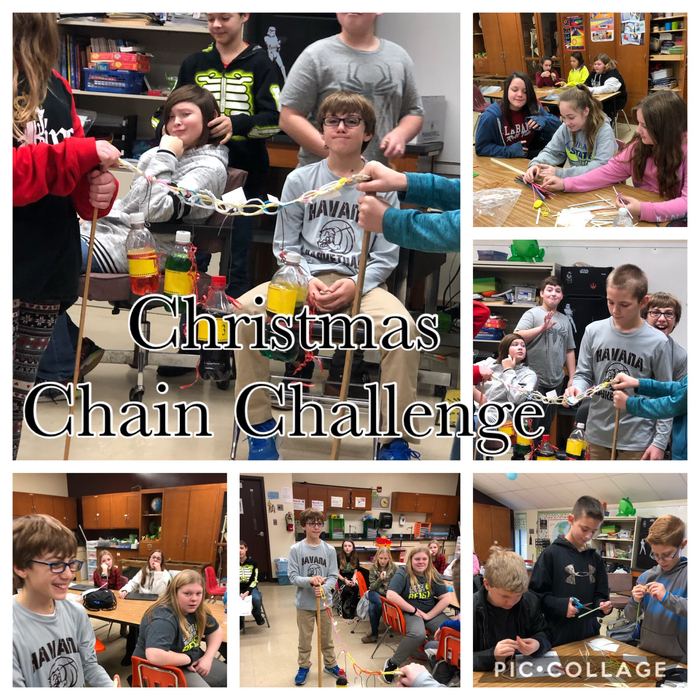 6th graders designed, built and tested their Christmas chains.