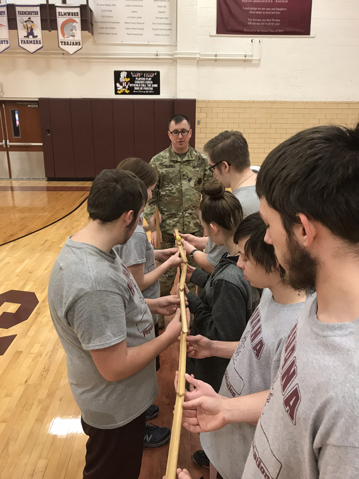 Team Building in PE today with the National Guard.