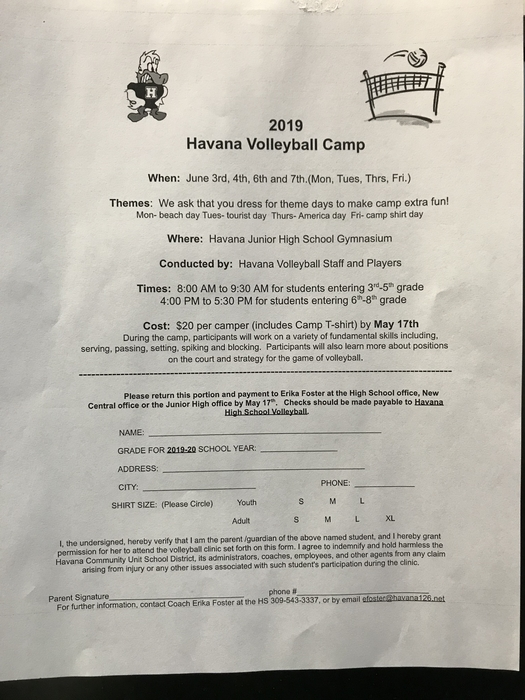 Volleyball camp forms