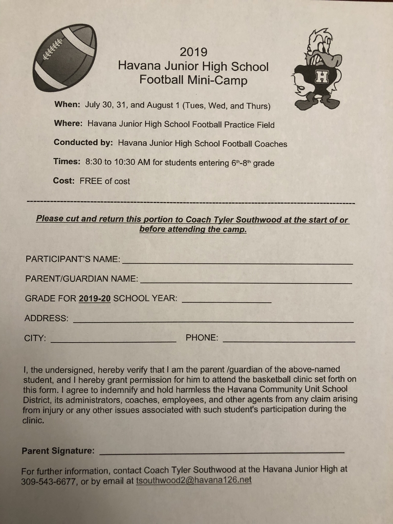 JH Football Camp Form