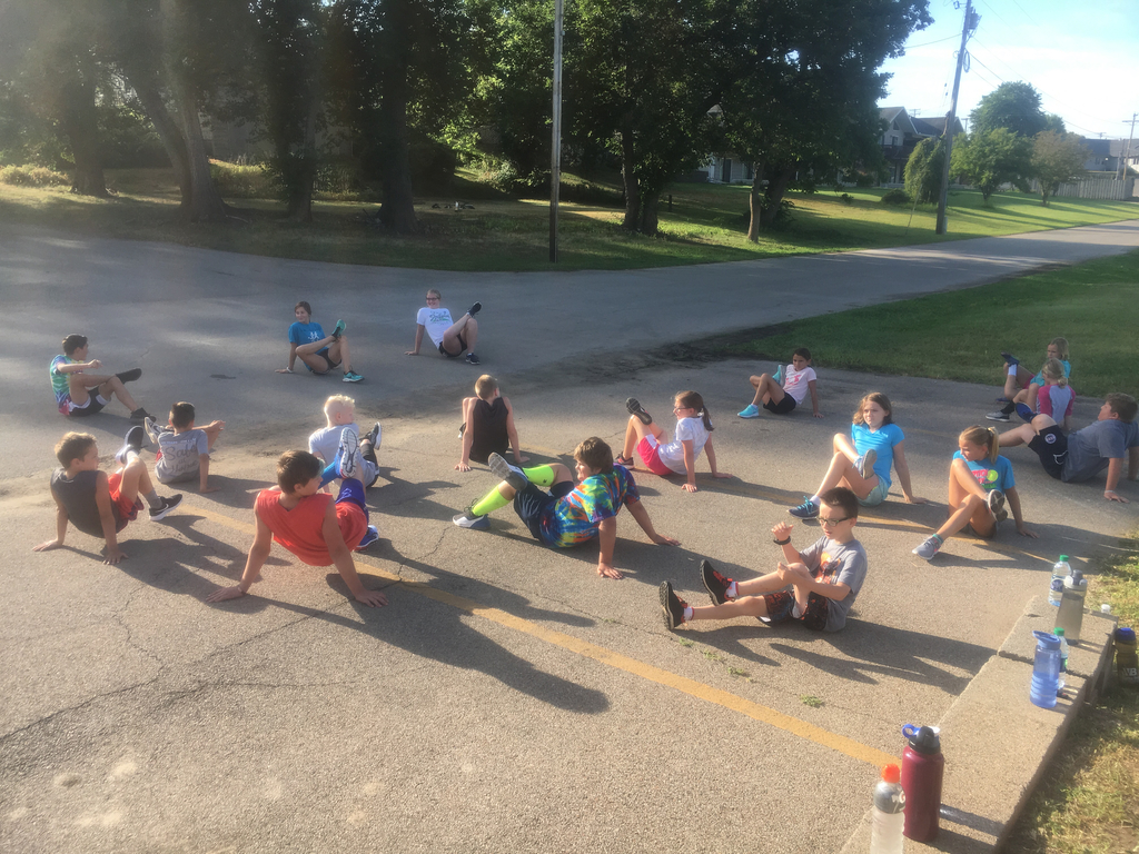 Stretching before our long run!