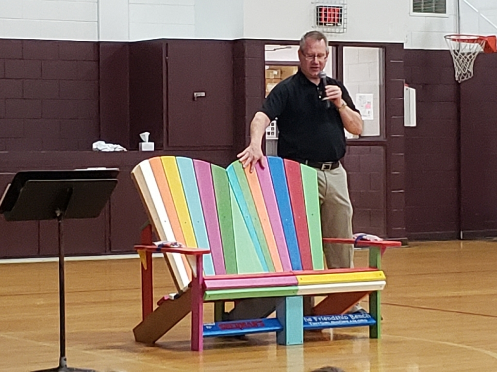 Paul Sherman came today to present New Central with the Buddy Bench we won last spring through an online voting contest.