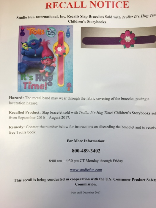 recall notice from Scholastic Books